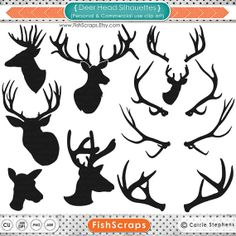 Deer Head Silhouettes Antlers & Outlines  -Buck  Doe - Stag - Reindeer Graphics - ClipArt - Clip Art - Digital Graphics and Photoshop Brushes by FishScraps, $5.95 - Personal Commercial (Small Business) Use approved! (See terms for details)  #DeerSilhouettes #DeerHeads #ClipArt  #Deers #Graphics #Digital #instantdownload #Etsy #FishScraps #PhotoshopBrushes #Antlers #Printables