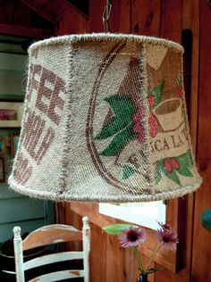 Burlap Coffee Bag Lampshade - DONE! Sewing through the glue sucked.so I left it out. Much better. Burlap Projects, Burlap Crafts, Crafty Projects, Burlap Decorations, Burlap Lampshade, Lampshades, Burlap Sacks, Hessian, Coffee Bean Sacks