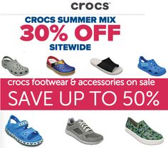 Crocs Canada Summer Mix Sale: Save 30% Off SiteWide  Extra 50% off Sale Footwear & Accessories Items http://www.lavahotdeals.com/ca/cheap/crocs-canada-summer-mix-sale-save-30-sitewide/210094?utm_source=pinterest&utm_medium=rss&utm_campaign=at_lavahotdeals