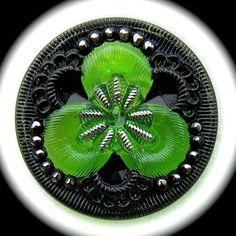 PAiR Czech Glass Buttons 27mm  1 1/16 inch Kelly by brizelsupplies