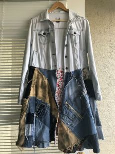 Item made out of vintage jeans patches . Will fit all sizes up to M. Chest measurements up to or 96 cm. Please ask me any questions. Jeans Recycling, Clubwear Tops, Camouflage Coat, Patched Jeans, Denim Top, Shoulder Shirts, Vintage Jeans, Jacket Dress, Denim Fashion