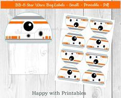 BB-8 Star Wars Bag label - BB-8 treat bag label - Star Wars bag label - Star Wars party - Star Wars The Force Awakens goodie bag label by HappywithPrintables on Etsy