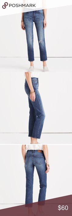 """Madewell Straight Crop in Roger Wash Excellent like new condition. Inseam 26"""" Madewell Jeans"""