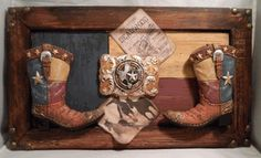 Texas Boot and Buckle - Whimsical sign featuring the Lone Star State in western boots and buckle against the Texas flag.