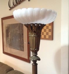 Vintage Torchiere Floor Lamp Brass With Marble Base Choice Of Two Shades