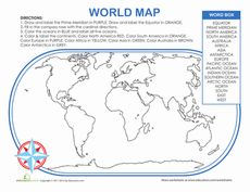World Map Activity Worksheet--color and label important locations in the world. He'll get to practice using a compass rose, making a map key (or legend) and review the locations of the continents.