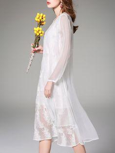 White Crew Neck Two Piece Long Sleeve Midi Dress