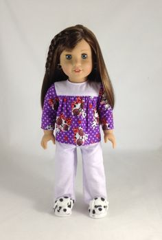 Mjs 18T Doll Dreaming - 3 Piece complete PJ Top, Bottoms and Dog Slippers for Grace Thomas, McKenna, Isabelle, Kit, Lanie, and Others!!