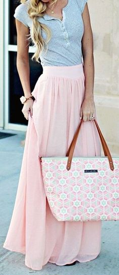 #summer #outfits / pink maxi skirt + gray button up top