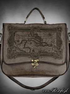 """Briefcase """"MAP BROWN"""" gothic satchel bag A4 MAP of Caribbean sea (also available in black)"""