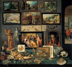 A corner of a cabinet, painted by Frans II Francken in 1636 reveals the range of connoisseurship a Baroque-era virtuoso might evince. Wikipedia