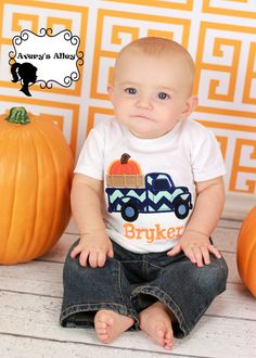 Hey, I found this really awesome Etsy listing at https://www.etsy.com/listing/200472667/chevron-pumpkin-truck-boys-personalized