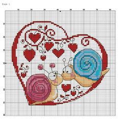 Cross-stitch Snails in Love. no color chart available, just use the pattern chart as your color guide. or choose your own colors. a punto croce Cross Stitch Boards, Cross Stitch Heart, Cross Stitch Animals, Counted Cross Stitch Patterns, Cross Stitch Designs, Cross Stitch Embroidery, Embroidery Patterns, Hand Embroidery, Cross Stitching