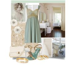 Blue slip dress with blue gold and white