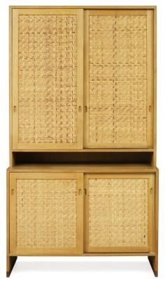 Hans Wegner; Oak and Rattan Cabinet for Ry Møbler, c1964.