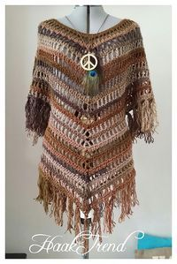 Boho Fringed Crochet Poncho Free Pattern