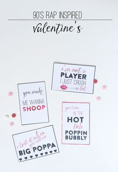90′s Rap Inspired Valentine's Day Cards   Printable Valentine's Cards via Thoughtfully Simple