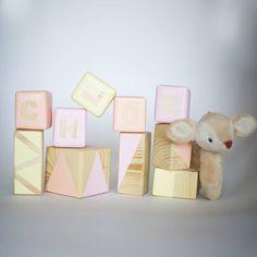 Personalised Pine Building Blocks In Neapolitan Pastels