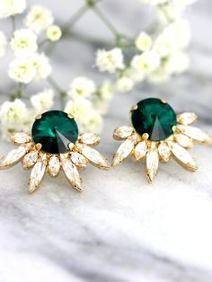 Emerald Earrings Bridal Emerald Earrings Swarovski by iloniti