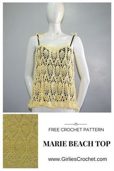 This is a free crochet pattern for Marie Beach Top using pineapple design with photo tutorial in each step.