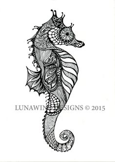 zentangle pen and ink hand drawn seahorse signed print
