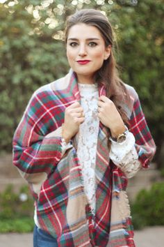 style me lauren, cozy, fall, plaid, tartan plaid, blanket scarf, lace, red CLICK TO SHOP
