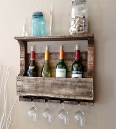 Small 4-bottle Reclaimed Wood Wine Rack With Shelf
