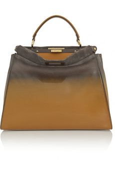 Fendi Peekaboo large dégradé patent-leather and suede tote | NET-A-PORTER