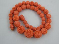 Vintage Art Deco Faux Salmon Coral Celluloid Graduated Flower Ball Bead Necklace