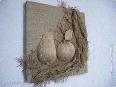 Картина панно рисунок Ассамбляж Натюморт в натуральных тонах Мешковина Шпагат фото 1