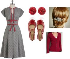 """red and gray"" by c-felice on Polyvore"