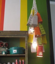 The perfect gift for the ultimate cheese lover: a grater chandelier!  Photo:  Priscilla Mae et al