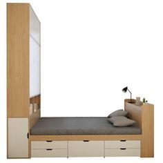 Small Room Design Bedroom, Room Ideas Bedroom, Home Room Design, Bed Frame Design, Bed Design, Mens Room Decor, Office Furniture Design, Bedroom Styles, Box Bed