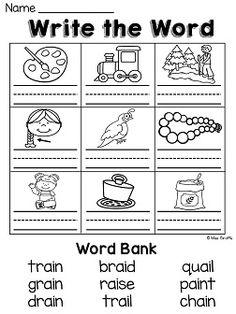 Worksheets Ai And Ay Worksheets ai and ay worksheets activities no prep prep
