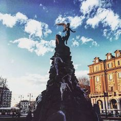 Buongiorno Turin! --- #torino #piazza #statuto #piemonte #italia #whatitalyis #monument #titans #esoteric #symbols #agameoftones #cityscape #citycenter #colours #clouds #square #bbctravel #fubiz #turin #muse #exogenesys #simphony #picoftheday #travelgram #travelphotography #piemonte_super_pics #torinodigitale #igersitalia #ig_turin #ciauturin  Photo by @leoalfieri