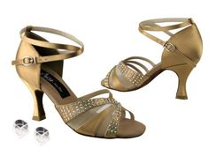 Ladies Women Ballroom Dance Shoes from Very Fine Competitive Dancer CD2805 3 Heel with Heel Protectors 75 Tan Satin ** To view further for this item, visit the image link.
