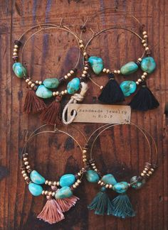 TTE-01 handmade turquoise and gold beads by EcoDesignProject