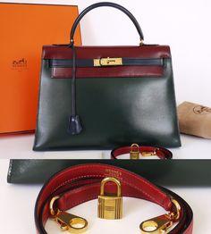 Hermes  Authentic Hermes Box Calf Tricolor Kelly Bag 28 Complete Set    MALLERIES Hermes Box a7e38092ce