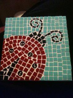 Ladybug mosaic coaster