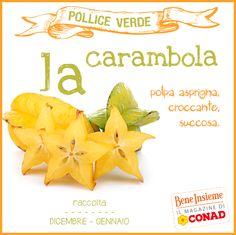 La #carambola è un frutto originario dello Sri Lanka, a polpa succosa e acidulo-dolciastra, che può essere utilizzato per bevande, insalate, liquori e anche spremuto sulle pietanze.  A te come piace consumarla?  Da Conad Bene Insieme