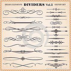 Kalligraphische Gestaltungselemente, Teiler und Schläge