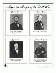 We may use the printables of the famous people from the Civil War. Also includes worksheets (crossword puzzles) but probably too advanced for us.