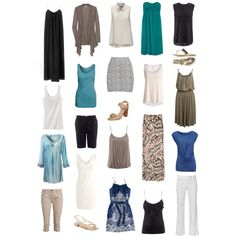 Cool and breezy summer wardrobe in some of my favorite colors. Works well for travel, too!