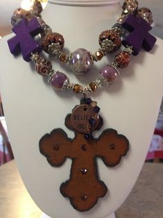 Western Chunky Necklace / Cross Pendant $60.00
