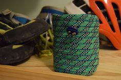 Frantically making more of these bad boys. Mint is by far the most popular. One on its way to NY now! My #etsy shop: Mint Chalk bag http://etsy.me/2AIn4xR #bagsandpurses #green #blue #chalkbag #recycled #bouldering #climbing #climbingrope #rope #dirtbags