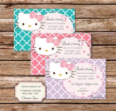 Printable invitations - Hello Kitty invitation - Freshmint Paperie. $16.50, via Etsy.