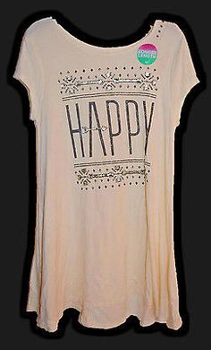 4a1f6e38a79 Justice Girls Shirt Tunic Top Longer Length HAPPY Off White Black Size 16  NEW