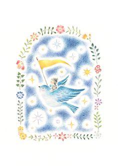 """Flying Bird and Child to Stars"" −RiLi, picture book, illustration, design ___ ""星々の間を飛ぶ鳥と子供"" −リリ, 絵本, イラスト, デザイン ...... #illustration #star #bird #child #イラスト #星 #鳥 #子供"