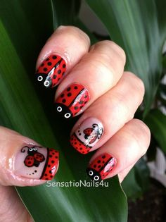 These unbelievably cute ladybugs were carefully painted on each of these nails, so if you're searching for a special nail art, perfect for spring, this is it! Ladybug nail designs are perfect for t. Nail Polish Designs, Nail Art Designs, Ladybug Nail Art, Special Nails, Animal Nail Art, Super Nails, Trendy Nails, Spring Nails, Fun Nails