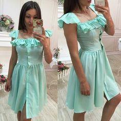 MalangFashion Green Plain Ruffle Single Breasted Square Neck Midi Dress